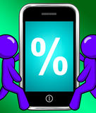 Percent Sign On Phone Displays Percentage Discount Or Investment Stock Photos