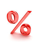 Percent sign red Royalty Free Stock Photos