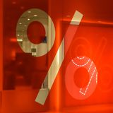 Percent sign on a red background Stock Photo