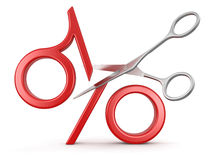 Percent sign and Scissors (clipping path included) Stock Photo