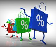 Percent Sign On Shopping Bags Showing Bargains Royalty Free Stock Images