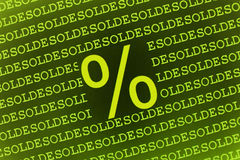 Percent sign on soldes text. A large percent sign on a background of repeating rows of the word soldes or sold Stock Image