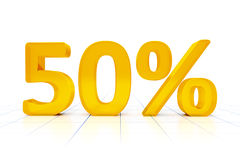 50 percent. A 50 percent sign in a white background Royalty Free Stock Photo