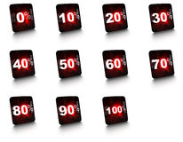 Percent signs. Complete set of percent buttons buttons are glossy and looks like a smartphone screen Royalty Free Stock Images
