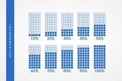10 20 30 40 50 60 70 80 90 100 percent square charts. Isolated blue symbols. Percentage vector elements. Infographic diagram signs. Business illustration icons royalty free illustration