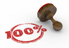 100 Percent Stamp Perfect Total Best Score Grade. 3d Illustration Royalty Free Stock Images