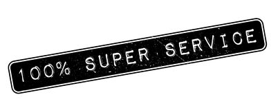 100 percent super service rubber stamp. On white. Print, impress, overprint vector illustration