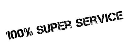 100 percent super service rubber stamp. On white. Print, impress, overprint stock illustration