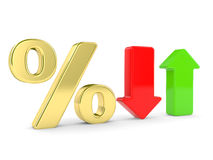Percent symbol  and arrows Stock Photo