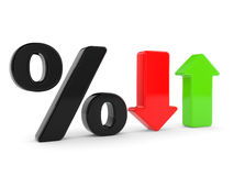 Percent symbol  and arrows Stock Photography
