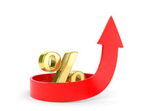 Percent symbol  and arrows directed to top Royalty Free Stock Images
