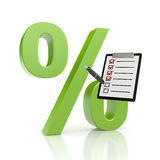Percent symbol with clipboard Stock Photo