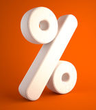 Percent symbol of cloth on orange background Stock Image