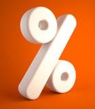 Percent symbol of cloth on orange background Stock Image