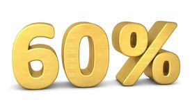60 percent symbol 3d gold vector illustration