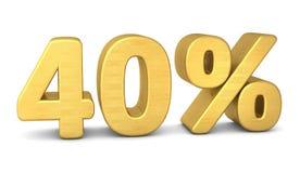 40 percent symbol 3d gold stock illustration