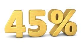 45 percent symbol 3d gold vector illustration
