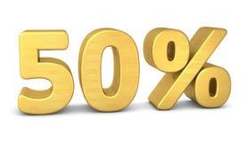 50 percent symbol 3d gold royalty free illustration