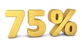 75 percent symbol 3d gold. 75 percent symbol 3d rendering gold vector illustration