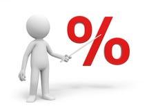Percent symbol. A 3d person pointing a percent symbol Stock Images
