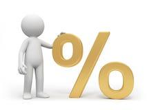 Percent symbol. A 3d person standing at a percent symbol Royalty Free Stock Photo