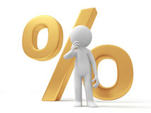 Percent symbol. A 3d person thinking,  back to a percent symbol Royalty Free Stock Images