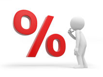 Percent symbol. A 3d person thinking in front of a percent symbol Royalty Free Stock Photography
