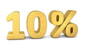 10 percent symbol 3d gold. 10 percent symbol 3d rendering gold stock illustration