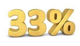 33 percent symbol 3d gold royalty free illustration
