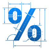 Percent symbol with dimension lines. Element of blueprint drawing in shape of percentage sign. Qualitative vector illustration for banking, financial industry Stock Image