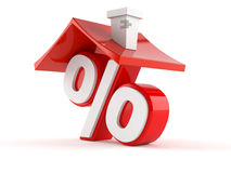 Percent symbol with house roof. Isolated on white background Stock Photos