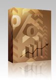 Percent symbol illustration box package. Software package box Abstract financial success illustration with percent symbol Stock Photos