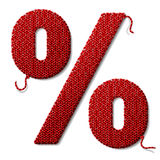 Percent symbol of knitted fabric  on white Stock Image