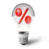 Percent symbol in lightbulb Royalty Free Stock Photography