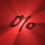 Percent symbol red light halo Stock Images