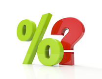 Percent symbol and red question Stock Photography