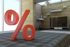 Percent symbol in room Stock Photo