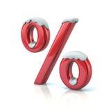 Percent symbol with snow Stock Photos