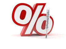 Percent symbol with thermometer vector illustration
