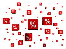 Percent symbols in red cubes Royalty Free Stock Photos