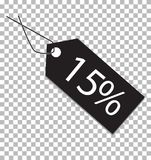 15 percent tag on transparent background. 15 percent tag sign. royalty free illustration