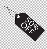 50 percent tag on transparent. 50 percent tag icon. 50 percent price tag sign Royalty Free Stock Image