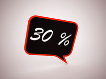 30 percent text on speech bubble. Rendered Stock Image
