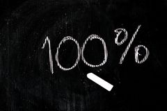 100-percent title written with a chalk Royalty Free Stock Image