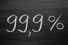 99,9-percent title written with a chalk on the blackboard Royalty Free Stock Photo