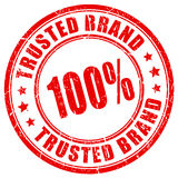 100 percent trusted brand rubber stamp. 100 percent trusted brand rubber vector stamp Royalty Free Stock Images
