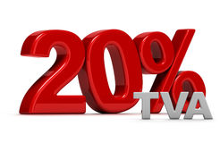 20 percent TVA. Red number 20 percent TVA written in 3D, French VAT Stock Photo