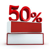 50 percent on two boards. 3D Rendering vector illustration