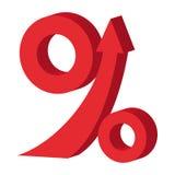 Percent up arrow icon, cartoon style. Percent up arrow icon in cartoon style  on white background Royalty Free Stock Photography