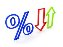Percent (up and fall) Stock Photo